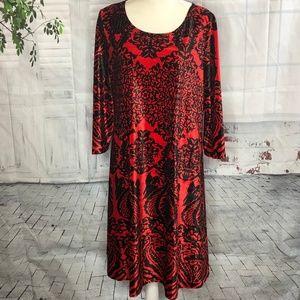 Lbisse Red & Black Velvet 3/4 Sleeve Dress 2X
